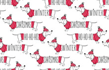 Holidays Seamless Pattern With Funny Dog. Happy New Year Pets. Merry Christmas Background. Winter Design.Cartoon Animals. Xmas 2018 Card.
