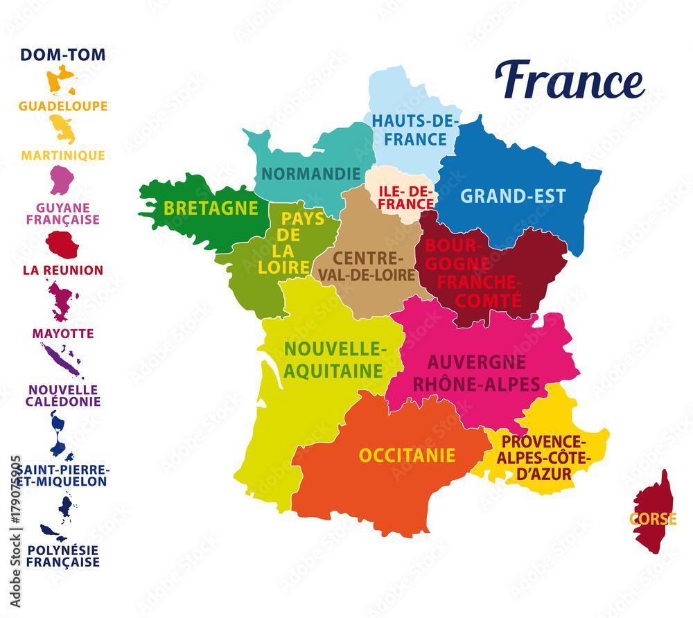 Fototapeta Carte de France avec ses 13 nouvelles régions. Map of France with 13 new regions since 2016.