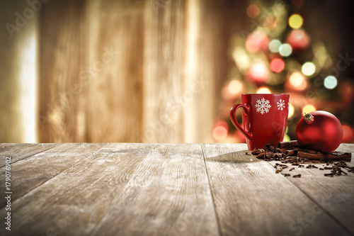 xmas time and mug on desk Fototapet