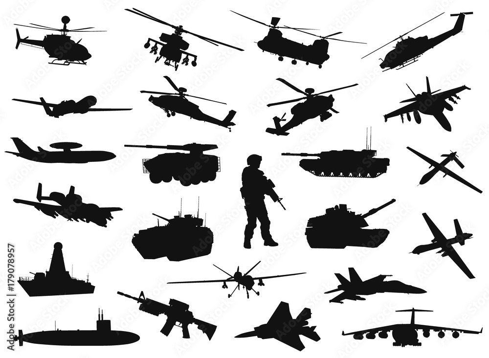 Fototapeta Vector military silhouettes set