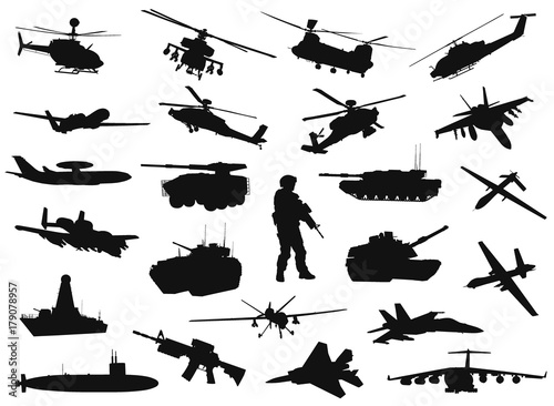 Vector military silhouettes set