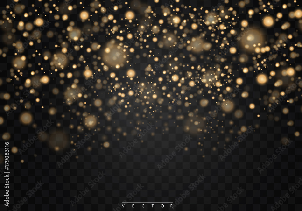 Fototapeta Christmas shining bokeh isolated on transparent background. Christmas concept. Vector EPS10