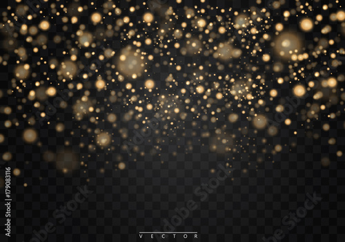 Christmas shining bokeh isolated on transparent background Fototapet