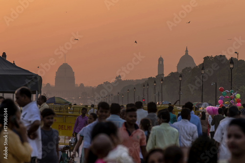 Fotografie, Obraz  Sunset over the government buildings, New Delhi, India