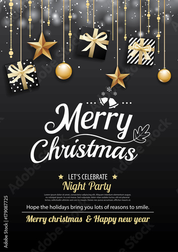 Merry Christmas Party And Gift Box On Dark Background