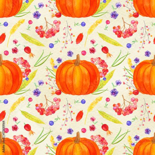 Pumpkin Arrangement Seamless Pattern Autumn Harvest