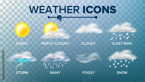 Fotomural Weather Icons Set Vector