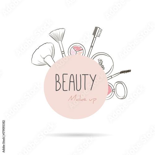 Illustration Visage makeup tools on begie circle background. vector beauty logo or label