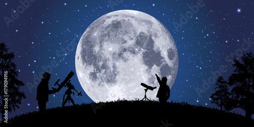 lune - clair de lune - astronomie - espace, planète - univers - satellite Fototapet