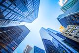 Fototapeta Nowy York - Up view in financial district, Manhattan, New York