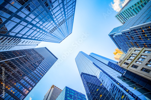 Up view in financial district, Manhattan, New York - 179099317