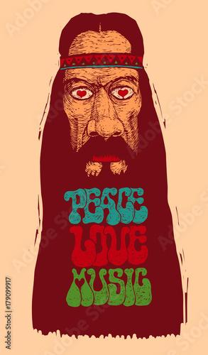 Fotografía Peace, Love, Music