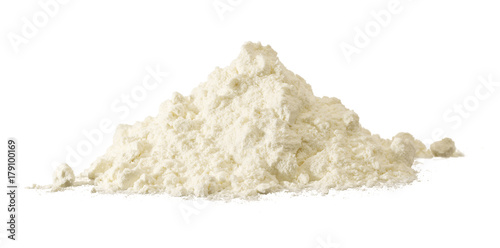 heap of white flour isolated on white