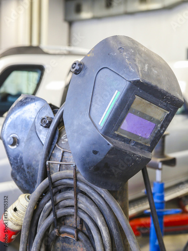 Welding equipment close up in a car repair station Canvas Print
