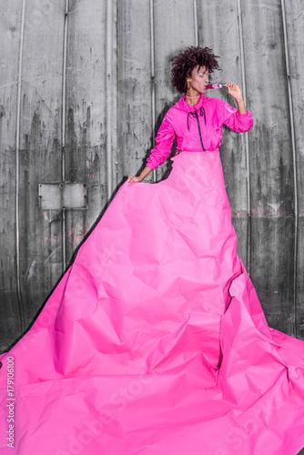 Garden Poster model in pink paper