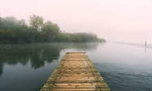 Wooden Floating Dock On River Ardas, Greece
