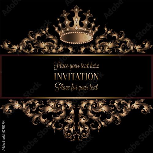 Fototapeta Vintage Gold Invitation Card With Black Background Divider Header Ornamental Lacy Vector Frame Royal Crown Decoration