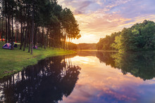 Sunrise In Early Morning At Pang Ung Lake In Mae Hong Son,Thailand With Pine Trees Reflection On The Water Selective Soft Focus