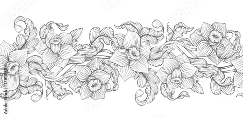 Daffodils narcissus dense outline sketch drawing floral seamless daffodils narcissus dense outline sketch drawing floral seamless border spring flowers black and white foliage mightylinksfo