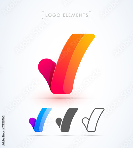 Vector Letter V Or Check Mark Logo Template Material Design Flat