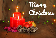 Christmas Still Life With Candles. Greeting Card