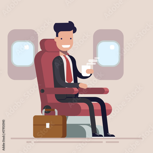 Businessman Or Manager Flies In An Airplane Passenger Man Character