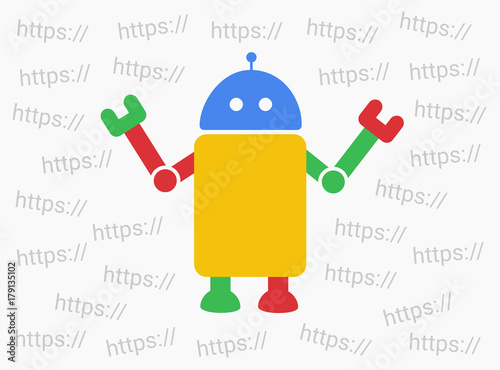 Fotografie, Obraz  Bot and web robot is choosing internet domain - indexation and finding of pages and webpages on online net and www site