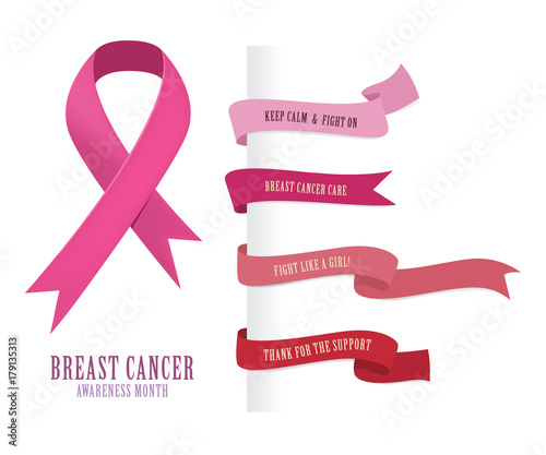 breast cancer ribbon labesl and badges pink color buy this stock