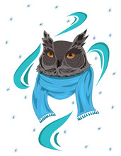 Owl In A Scarf. Portrait Of A Cartoon Owl In Winter. The Head Of A Bird Of Prey. Vector Illustration For A Christmas Greeting Card.