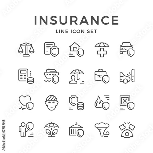 Fotografia  Set line icons of insurance