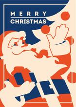 Santa Claus With Beard Minimalistic Vector Illustration