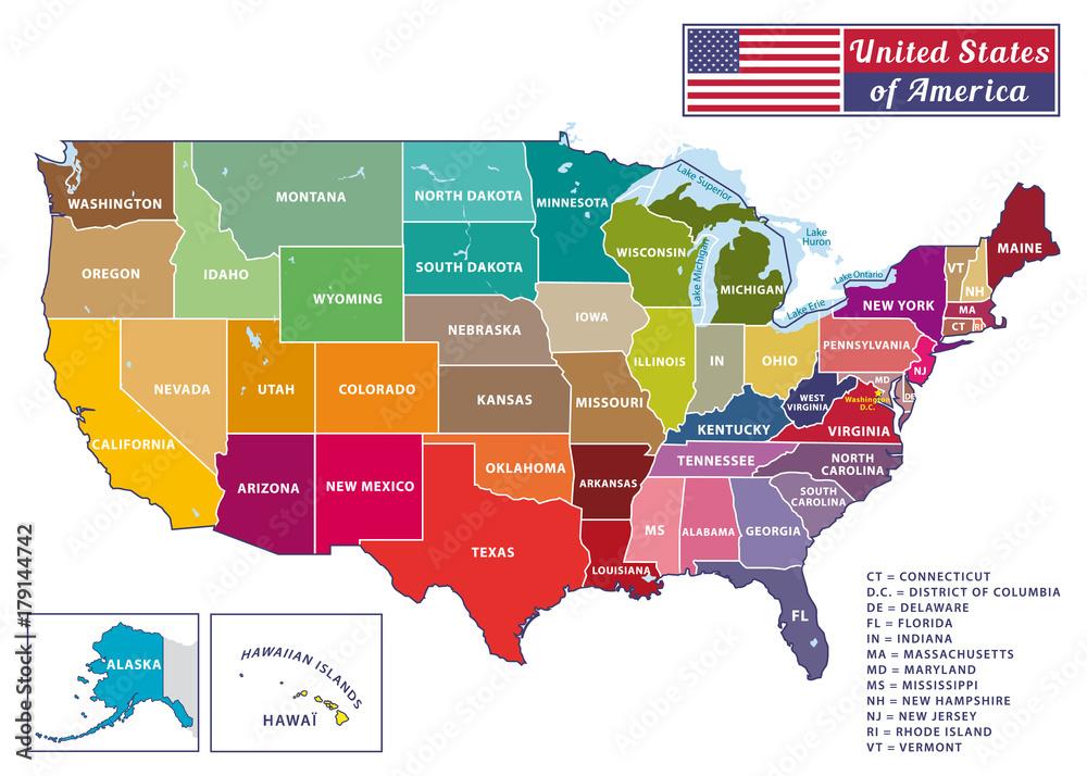 Fototapeta United States of America. Beautiful modern graphic USA map. 50 states. Alaska and Hawaï.