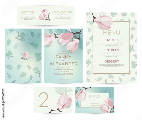Wedding invitation with flowers of magnolia a set for a wedding wedding invitation with flowers of magnolia a set for a wedding invitation a template stopboris Image collections
