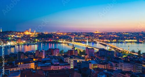Fototapeta Aerial panoramic view of sunset Istanbul, Turkey obraz na płótnie