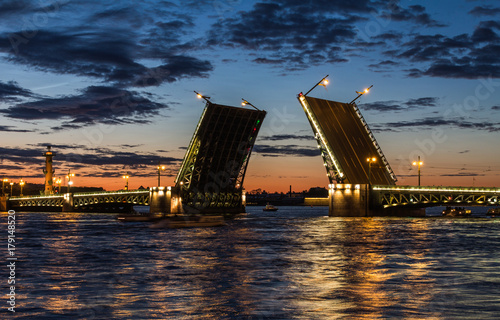 Palace Bridge (1912-1916), a road- and foot-traffic bascule bridge, spans the Neva River between Palace Square and Vasilievsky Island Canvas Print