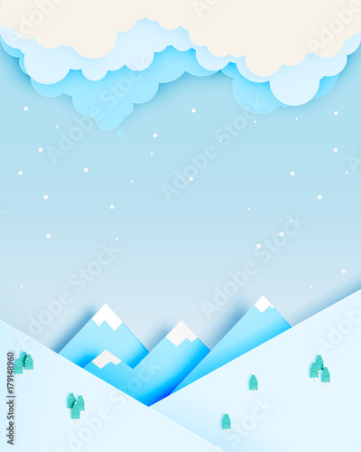 Tuinposter Lichtblauw Winter landscape with paper art style and pastel color scheme