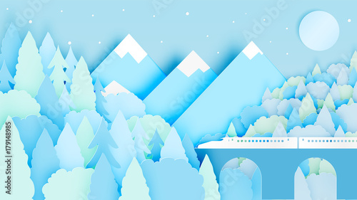 Photo Stands Night blue Winter landscape with paper art style and pastel color scheme