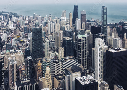 Foto op Aluminium New York Chicago downtown. Skyscrapers. An aerial top view.