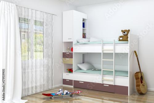 Realistic 3D rendering. Modern kids bedroom furniture design ...
