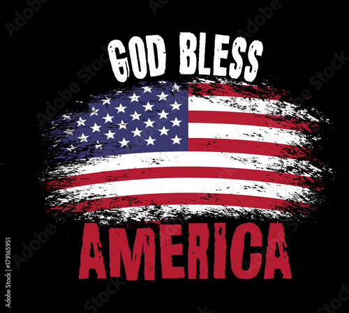 God Bless America Vector Typography Illustration With American Flag