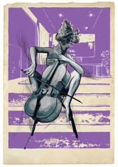 FototapetaMusic, Musician picture. Young woman - Chello player. An hand drawn illustration, vector