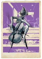 Fototapeta Muzyka / instrumenty Music, Musician picture. Young woman - Chello player. An hand drawn illustration, vector