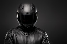 Man Wearing A Black Leather Mo...