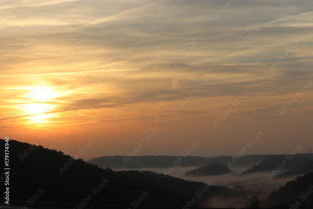 Fototapety, obrazy: Foggy Morning over the Valley Sunrise