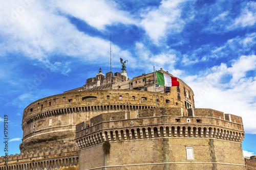 Photo  Castel Sant Angelo Vatican Castle Italian Flag Rome Italy