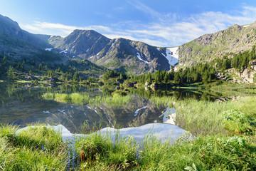 View on Fourth Lake of Karakol lakes in Altai Republic. Russia