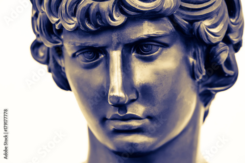 Ancient Male Statue Of Mercury Of 18th Century Isolated On White Background Public Domain Beautiful Face Closely Greek God Hermes Of Speed For Design Posters Prints Art Calendar Bronze Statue Compre Esta