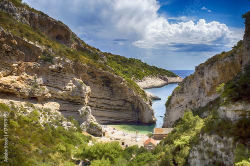 Fotografie, Obraz  Stiniva cove on Vis island, Croatia
