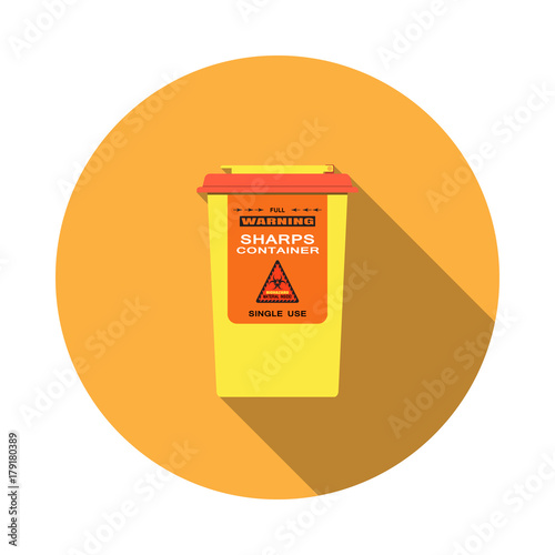 Fototapeta Vector isolated icon of sharps container with hinged lid and sticker with biohazard sign on the orange background with shadow