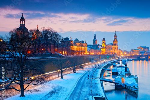 Fototapety, obrazy: Winterabend in Dresden, Deutschland